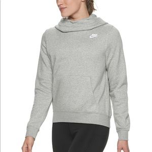 Nike womens funnel neck hoodie gray heather size s